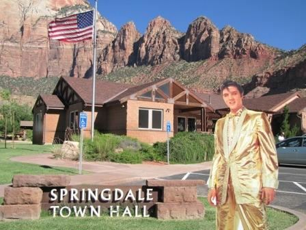Cardboard Cutout of Elvis at Town Hall