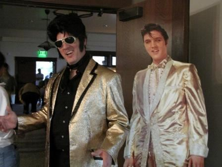 Elvis Impersonator with Cardboard Cutout
